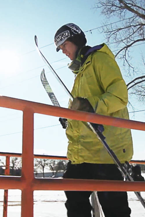 Skiing a 97ft rail