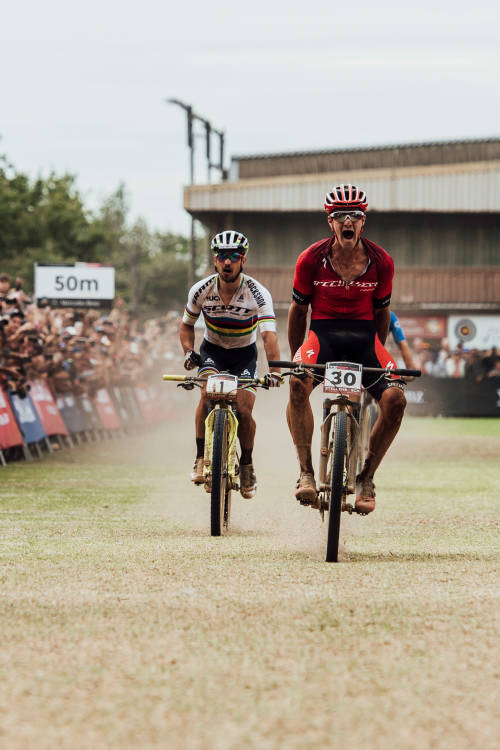 Men's XCO finish line in Stellenbosch