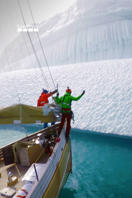 Climbing icebergs in Greenland