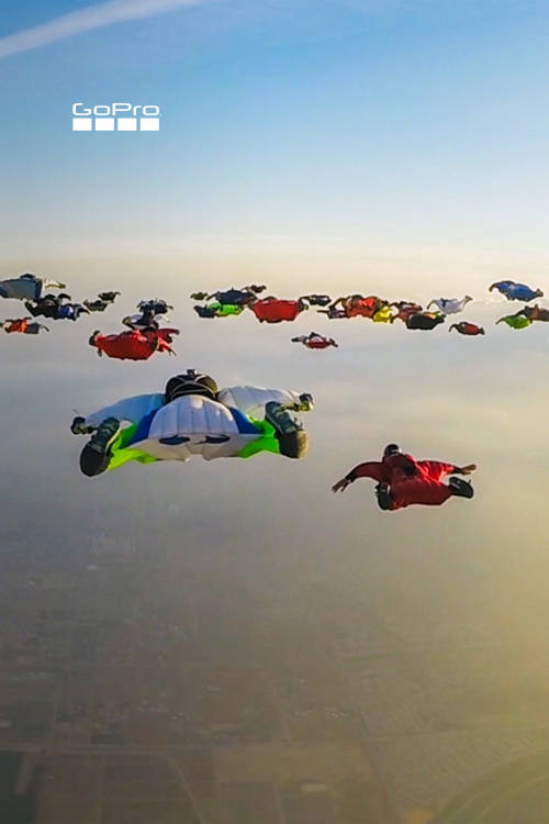 61 Wingsuits in Flight
