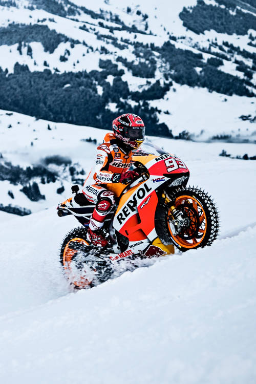 MotoGP show run in the snow