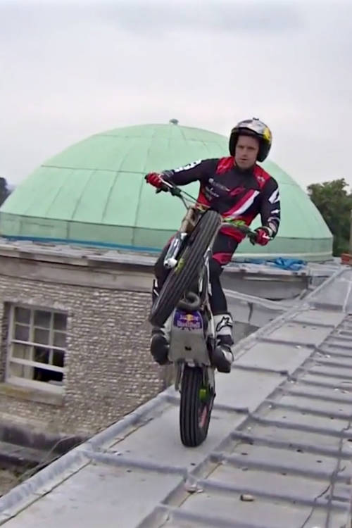 Dougie Lampkin rides Goodwood House's roof