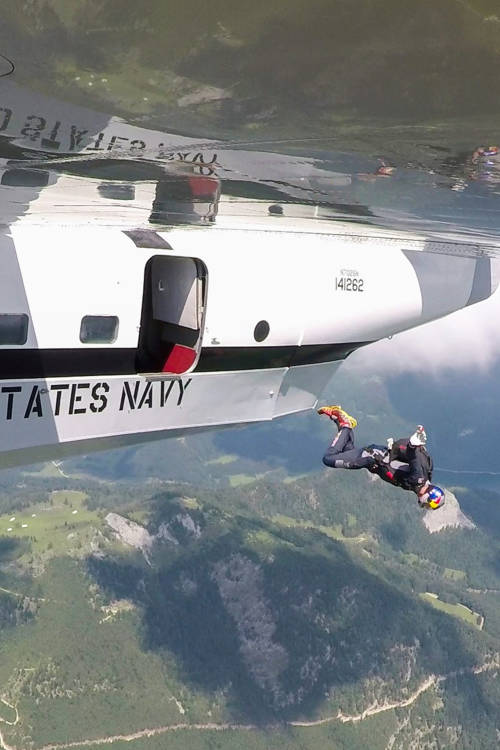 Skydiving onto a plane