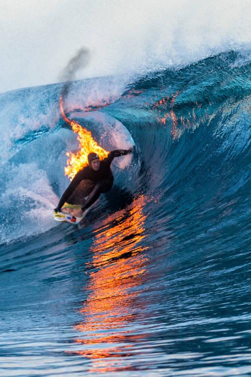 Surfing Teahupo'o on Fire