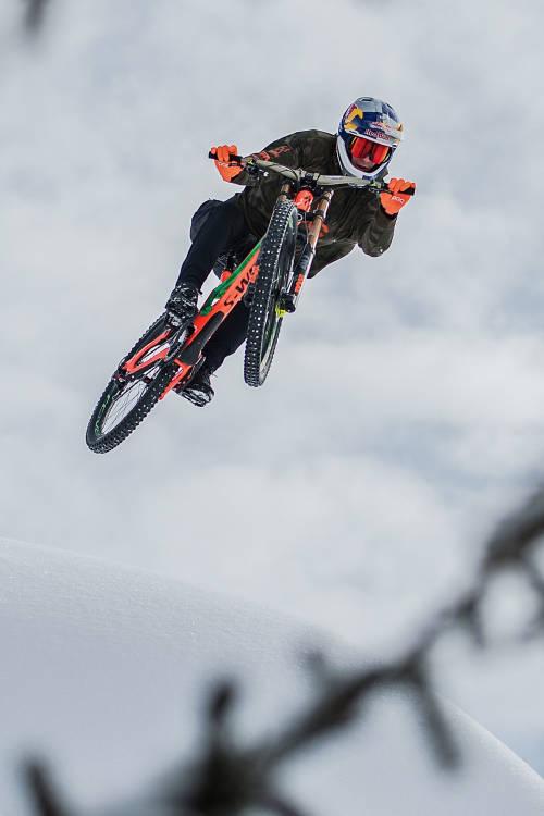 Fabio Wibmer rides the course